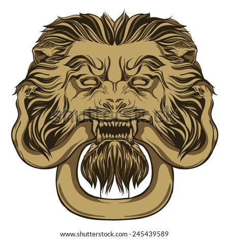 Gold lion holding a snake. Door knocker. Hand drawn illustration - stock photo
