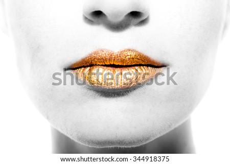 Gold Lips - stock photo