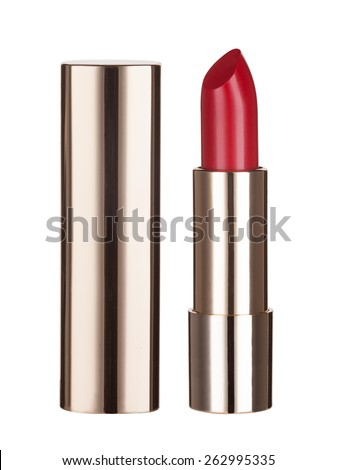 Gold lipsticks isolated on white background - stock photo
