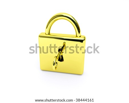 gold lock with key over white
