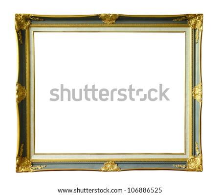 Gold louise photo frame over white background - stock photo