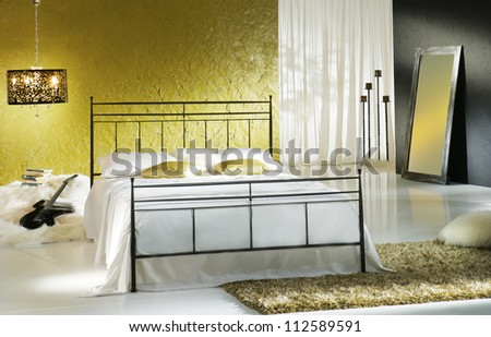 gold luxury bedroom - stock photo