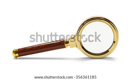 Gold Magnifying Glass on Side Isolated on a White Background. - stock photo