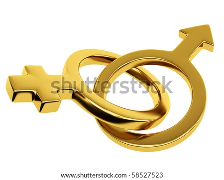 Gold male and female symbol