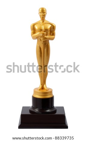 Gold Man statue over white - stock photo