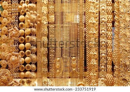 Gold market in Dubai, Deira Gold Souq - stock photo