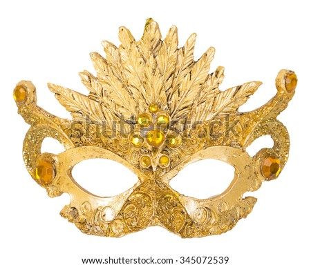 Gold Mask decoration on Christmas tree isoloated on white background - stock photo