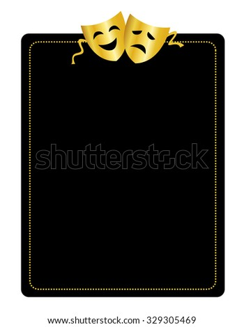 Gold masks silhouette representing theater comedy and drama border / frame - stock photo