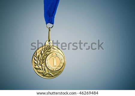 gold medal and copy-space - stock photo
