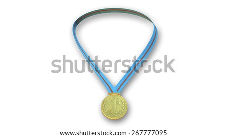Gold medal for first place hanging from blue and red ribbon, isolated on white background - stock photo