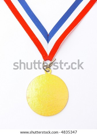 gold medal - isolated - stock photo