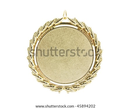 Gold medal isolated on white - stock photo