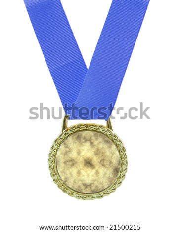 Gold medal isolated on white, Add your own logo or words - stock photo