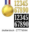 Gold medal of honor with golden numbers to place over the medal. Includes alpha for isolating the numbers. - stock photo