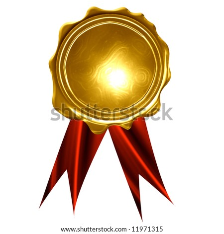 gold medal on a solid white background - stock photo