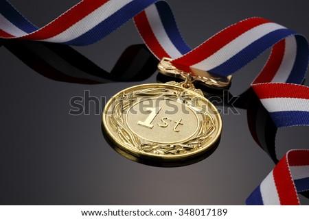 Gold medal on black background? - stock photo