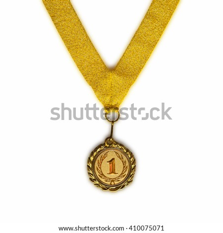 Gold medal on gold ribbon with relief detail of laurel wreath and number one isolated on white background - stock photo
