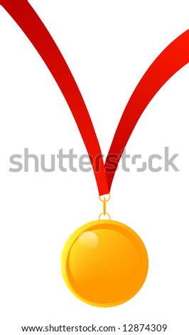 gold medal or medal of appreciation with red ribbon - stock photo