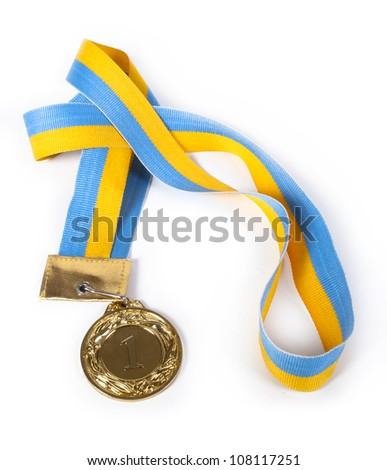 gold Medal & Ribbon on isolated background - stock photo