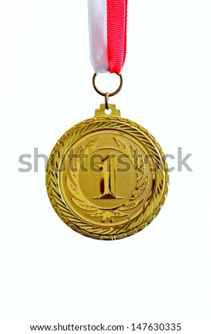 Gold medal, white background, vertical - stock photo