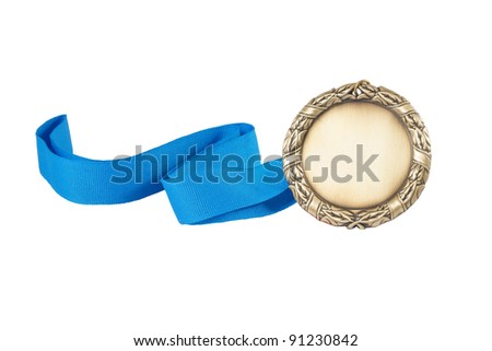 Gold medal with blue ribbon isolated on white - stock photo