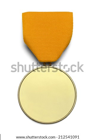 Gold Medal WIth Copy Space and Ribbon Isolated on White Background. - stock photo