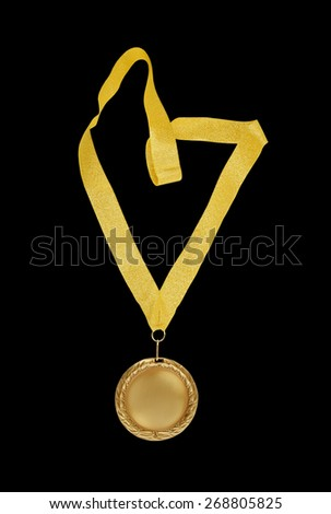 Gold medal with golden ribbon isolated on black - stock photo