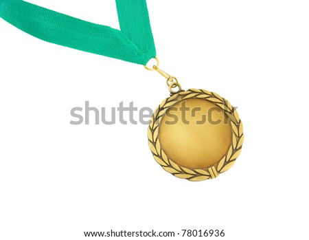 Gold medal with green ribbon isolated on white
