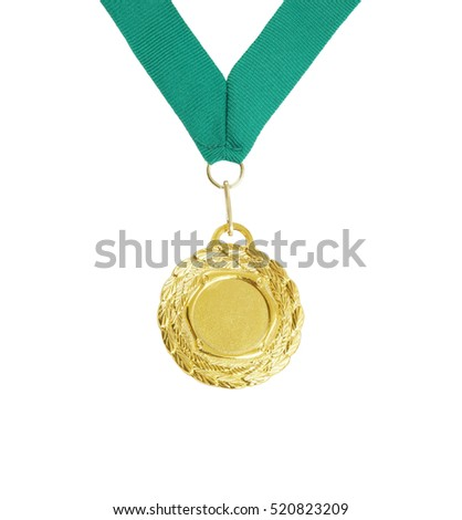 Gold medal with green ribbon isolated on white background
