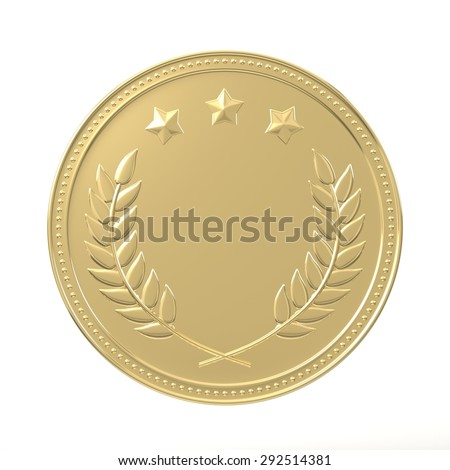 Gold medal with laurels and stars. Round blank coin with ornaments. Victory, best product, service or employee, first place concept. Achievement in sports. Isolated on white background. - stock photo