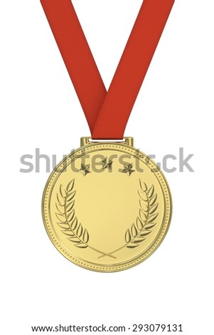 Gold medal with laurels, stars on a red ribbon. Round blank coin with ornaments. Victory, best product, service or employee, first place concept. Achievement in sports. Isolated on white background.