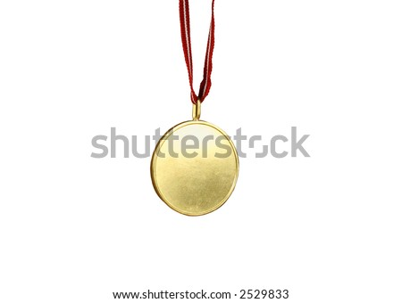 Gold medal with red and white ribbon (isolated on white).  Blank center is ideal for any text. - stock photo