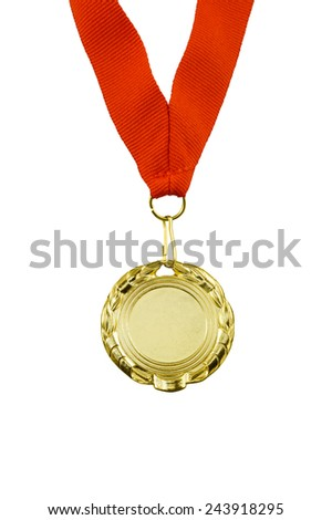 Gold medal with red ribbon isolated on white  - stock photo