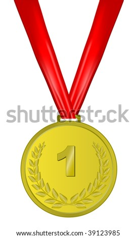 gold medal with red ribbon on white