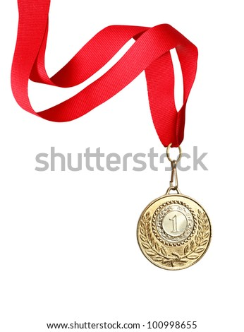 Gold medal with red ribbon on white background. Clipping path is included - stock photo