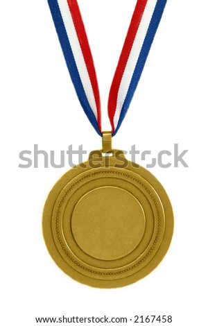 Gold medal with ribbon isolated - stock photo