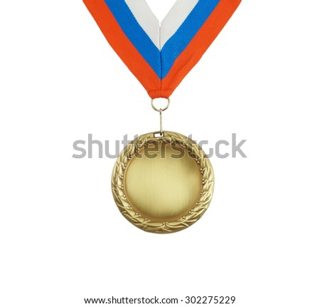 Gold medal with ribbon isolated on white - stock photo
