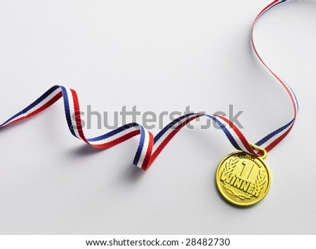 gold medal with ribbon on the white background - stock photo