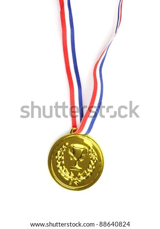 gold medal with ribbon on white background - stock photo