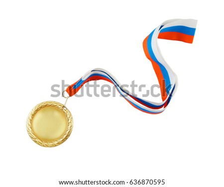 Gold medal with tree color ribbon isolated on white background