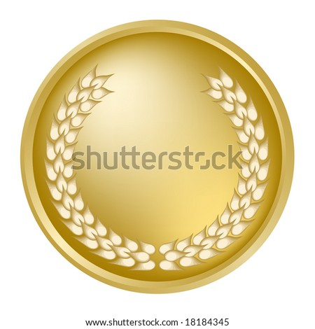 Gold medallion with laurel wreath - stock photo