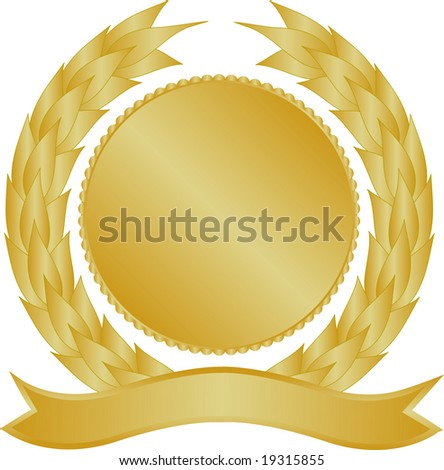 Gold medallion with wreath and banner - stock photo