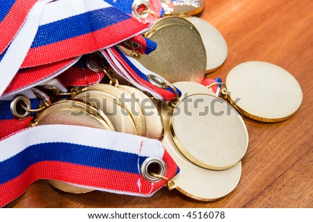 Gold medals  before handing to champions. - stock photo