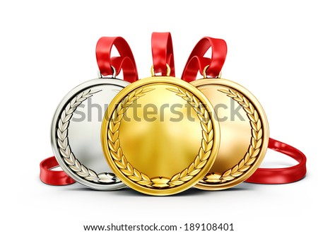 gold medals isolated on a white background - stock photo