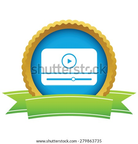 Gold media player logo on a white background - stock photo