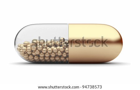 Gold medical pill 3D. Vitamins. Isolated on white background - stock photo