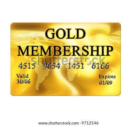 Gold Membership Card On White Background