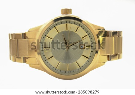 Gold Men's Wrist Watches - stock photo