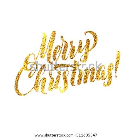 Gold Merry Christmas Card Golden Shiny Stock Illustration 511605547 ...
