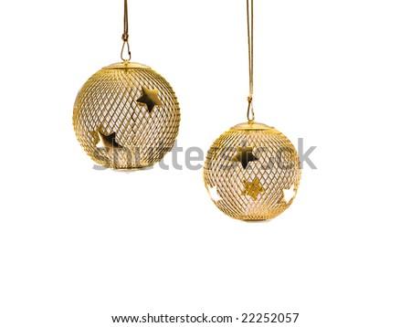Gold Mesh Ornaments 2 - stock photo